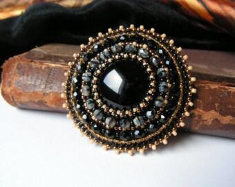 Black Brooch Black Onyx Brooch Bead embroidery brooch Beaded brooch Black Beige Brooch Classical Brooch Black Jewelry MADE TO ORDER