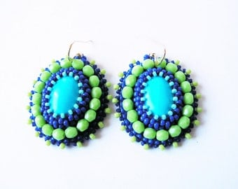 Beadwork Earrings Turquoise Green Earrings Bead embroidery Earrings Bead embroidered Jewelry Turquoise Earrings Turquoise Blue MADE TO ORDER