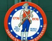 Vintage Bicentennial Pinback-Minuteman-3 1/2 inches