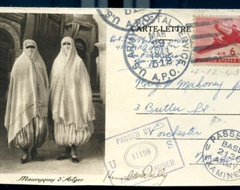 Digital Download-WW2 Algerian Letter Card from US Soldier 1943