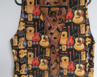 Reversible Guitar & Tan Batik Music Notes Reverse Musical Vest  Ladies Large.
