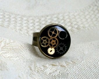 Steampunk  ring with cogs black brass jewelry womens accessory adjustable  industrial gears geek geekery science altered art science