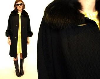 Vintage 50s Glamorous madmen Black Fur Swing Coat S/M