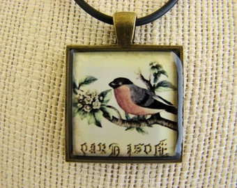 Resin Pendant, Red Robin, Vintage Inspired, Rustic, Brone,1 inch, Square