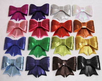 LARGE Sequin Bow Appliques - set of 10