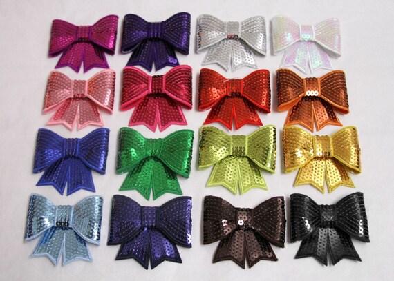 LARGE Sequin Bow Appliques - set of 10