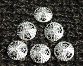 Set of Six 7/8 Inch Domed Metal Buttons Filigree Shank