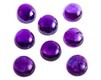 Natural Purple African Amethyst Gemstone Round Cab Size 6 mm,10 mm, 12 mm