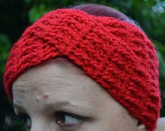 Crochet turban in red, hairband, headband, headwrap, ear warmer