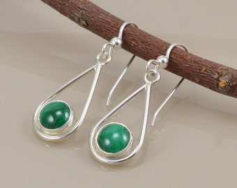 Teardrop Earrings - Malachite Cabochon - Sterling Silver - Hand Fabricated