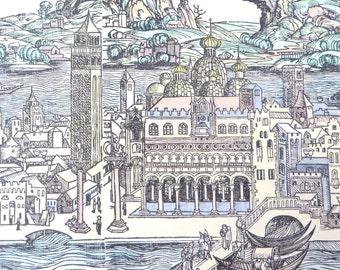 Vintage Venice Print Cityscape Pastel Historic Urban Plans