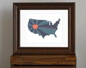 United States Art Print - Home is wherever I'm with you quote - heart - USA, America - navy blue, teal, coral - gift for a couple - 8 x 10