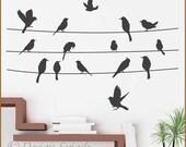 Birds on a Line Vinyl Wall Decal Set A-112