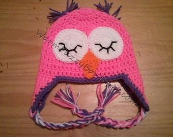 Baby Sleepy Owl Earflaps Hat - Crochet Newborn NB Beanie Boy Girl Costume Halloween  Christmas Winter Photo Prop Cap
