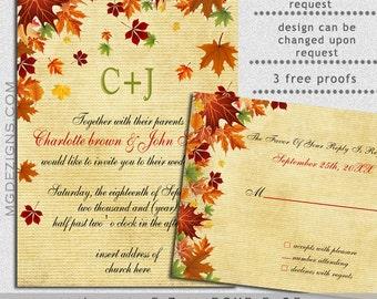 Fall Wedding Invitations,PRINTABLE Wedding Invitation Template, Rustic Wedding Invitation Templates Invitation Template, Printable Invites