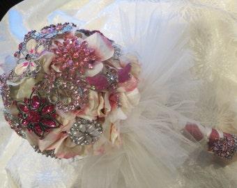 Silk Brooch Pink Bridal Bouquet Keepsake  Hydrangea