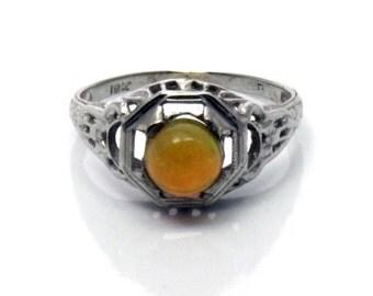 18K Antique Art Deco Orange Fire Opal Filigree Ring