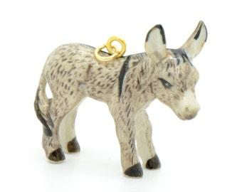 1 - Porcelain Donkey Pendant Hand Painted Glaze Ceramic Animal Ceramic Small Donkey Bead Vintage Jewelry Supplies Little Critterz (CA208)