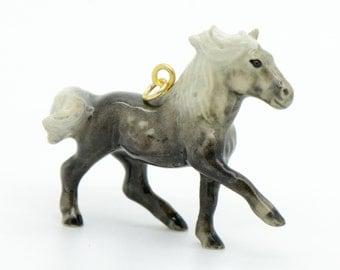 1 - Porcelain Hill Pony  Pendant Animal Hand Painted Glaze Ceramic Animal Small Ceramic Pony Jewelry Supplies Little Critterz (CA039)