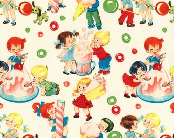 Popular items for retro kids fabric on etsy for Vintage childrens fabric by the yard