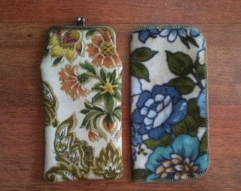 1970s floral print glasses case (lot of 2)