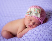 baby girl hat, newborn girl hat, crochet girls hat, girls hat, newborn girls hat, hat with lace ribbon,  little girl hat, vintage baby hat