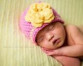 newborn girls hat, girls hat, baby girl hat, newborn baby hat, yellow baby hat, newborn hat, baby hat, crochet baby hat