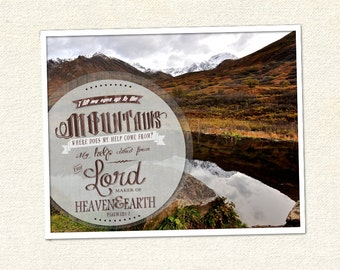 Mountain photograph with Bible verse typography - Digital Downlaod