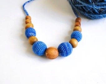 SALE 30%-Nursing Necklace/Teething Necklace-Breastfeeding Necklace-Eco-Friendly-Blue-Mother's day