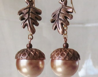 Rose Gold Acorn Earrings with Rosy Copper Caps and Oak Leaves