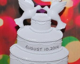 Personalized Wedding Cake Christmas Ornament