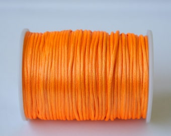 orange Rattail Cord, Knotting cord, 2.5 mm orange Satin cord, Beading cord, Jewelery supplies, embellishment cord 10 meters (11 yards )
