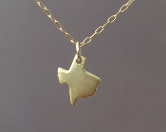 Tiny Gold Texas Necklace also in Silver