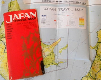 Vintage 1960's Wall Map Japan Tokyo Travel Map of Japan Antique Map