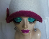 Winter White & Old Rose Vintage Inspired Crocheted Felted Cloche Flapper Hat 'Carrie Bell'
