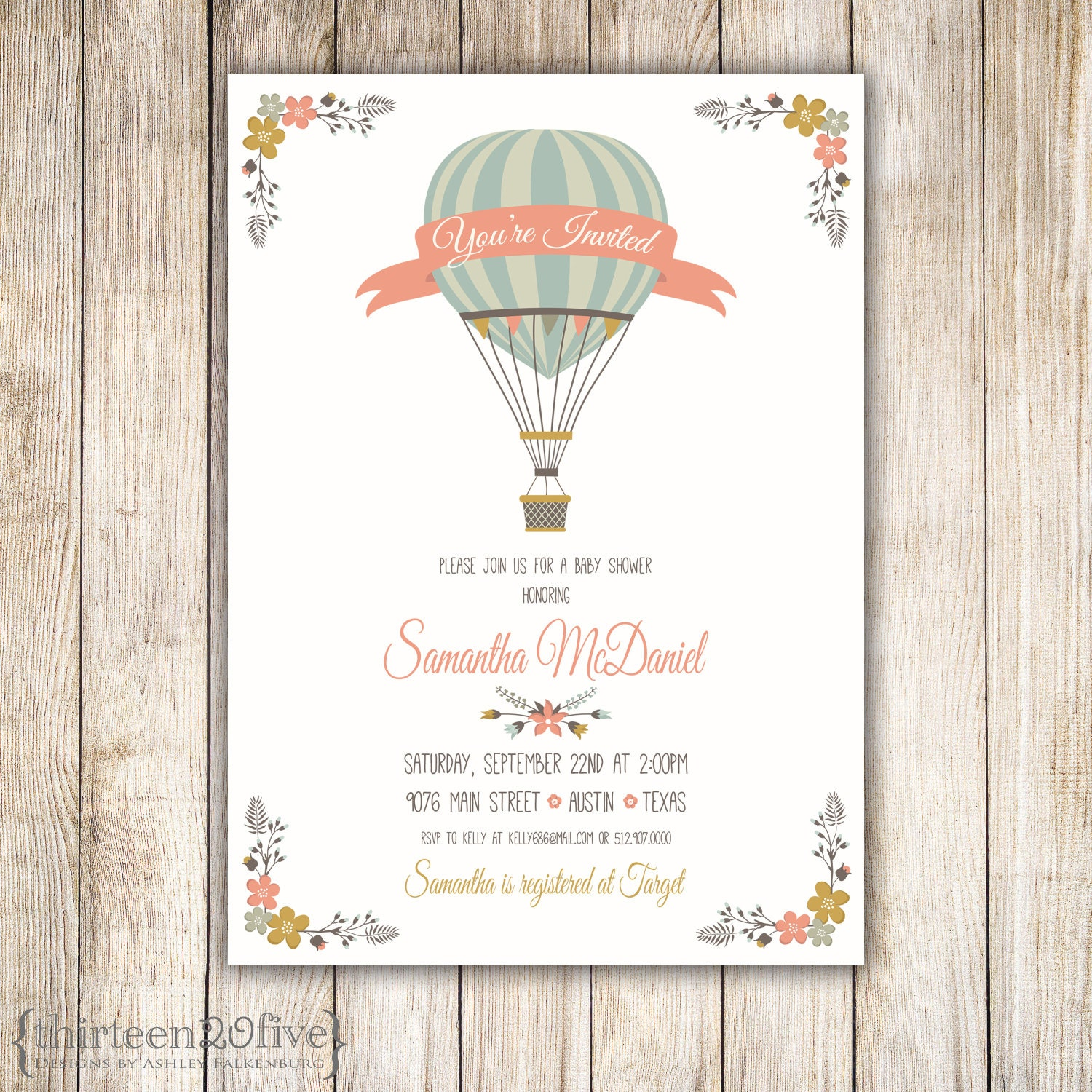 Hot Air Balloon Baby Shower Invitation DIY 013