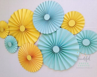 8 pc Yellow and Aqua Rosettes, Paper Fans, Pinwheel Backdrop Decor, Paper Rosettes, Baby Shower Decoration