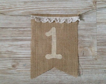 First 1st Birthday 1 One Shabby Chic High Chair Burlap Banner Bunting