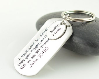Personalized KeyChain, Hand stamped key chain