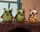 Reserved Order for Mary - 5 Lampwork Owl Beads