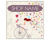 Premade Etsy Cover Photo Etsy Banner Set Red Haired Girl Cycling Retro Bicycle Romantic Love Style Basket Full Of Hearts Violet Butterfly