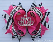 Hot Pink Zebra Hair Bow Tiara Center Birthday Princess