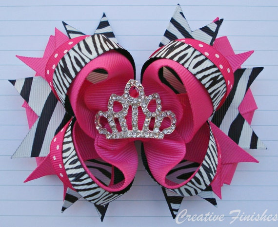 Hot Pink Zebra Hair Bow Tiara Center Birthday Princess