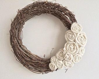Burlap Wreath, Removable Attachment in Ivory, Fall Burlap Wreath, Christmas Burlap Wreath, All Seasons Burlap Wreath