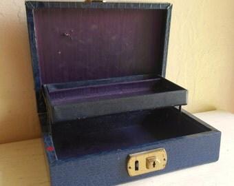 Blue and Gold Jewelry Box Dark Purple Satin Interior