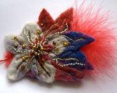 Felted flower feather brooch - Flower design - abstract flower brooch - red - grey - purple
