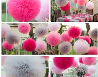 "10 Medium Tulle poms measures 8"" in size"