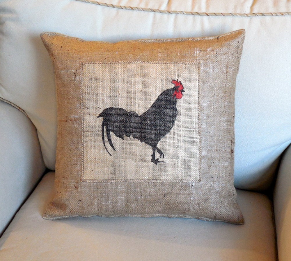 Red crowned rooster on burlap hand painted 18 inch pillow for Hand painted pillows