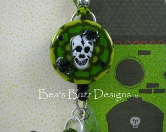 LITTLE MONSTERS - Unique Halloween Retractable ID Badge Reel,Designer Badge Holder,Lanyard,Nurse Jewelry,Teacher Gift, Rhinestone Badge Id