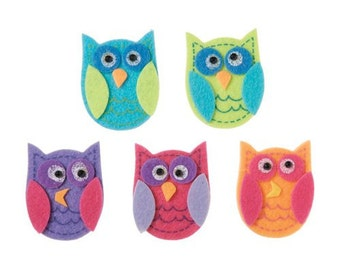 10 Funky Owl Foam Feltie Stickers